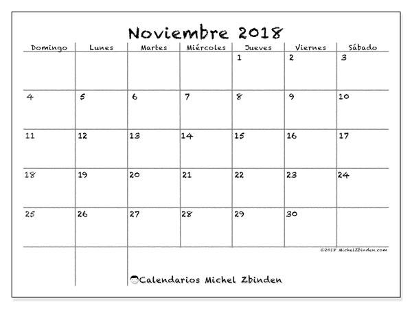 Calendario noviembre 2018 (77DS). Almanaque para imprimir gratis.