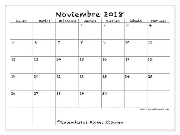 Calendario noviembre 2018 (77LD). Calendario gratuito para imprimir.