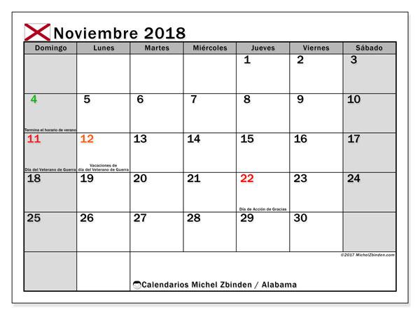 Calendario noviembre 2018, con los días feriados en Alabama. Calendario mensual para imprimir gratis.