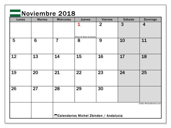 Calendario noviembre 2018, con los días festivos de Andalucia. Calendario para el mes para imprimir gratis.