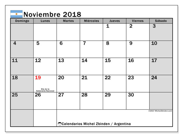 Calendario noviembre 2018, con los días feriados en Argentina. Almanaque para imprimir gratis.