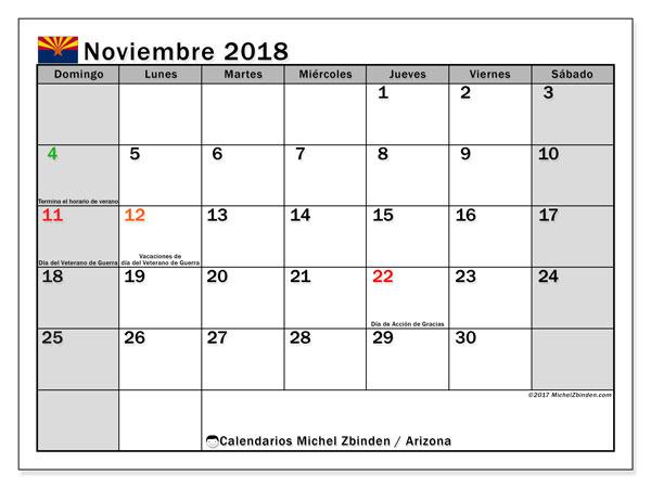 Calendario noviembre 2018, con los días feriados en Arizona. Calendario para el mes para imprimir gratis.