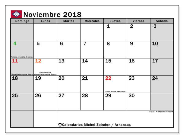 Calendario noviembre 2018, con los días feriados de Arkansas. Calendario para el mes para imprimir gratis.