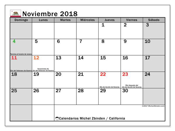 Calendario noviembre 2018, con los días feriados en California. Calendario mensual para imprimir gratis.