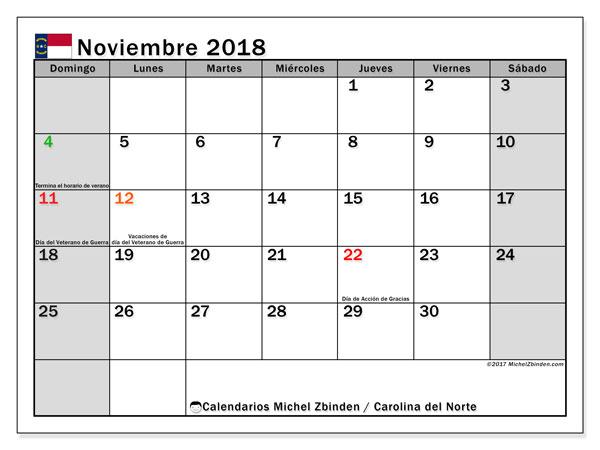 Calendario noviembre 2018, con los días feriados en Carolina del Norte. Calendario imprimible gratis.