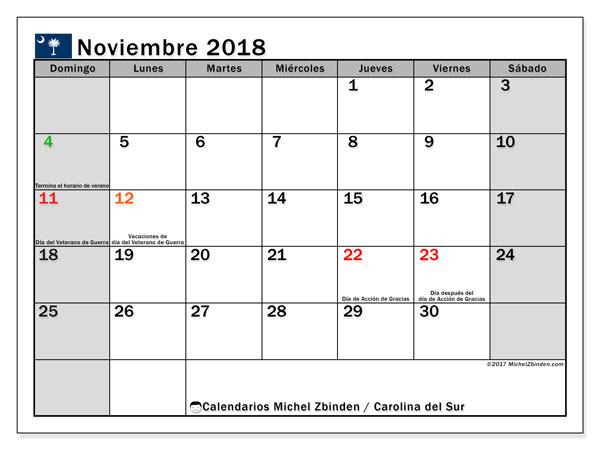 Calendario noviembre 2018, con los días feriados en Carolina del Sur. Calendario mensual para imprimir gratis.