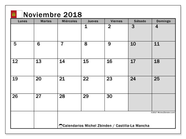 Calendario noviembre 2018, con los días festivos de Castilla-La Mancha. Calendario para imprimir gratis.