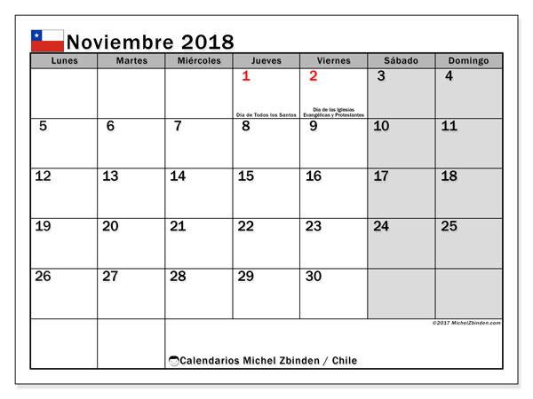 Calendario noviembre 2018, con los días feriados para Chile. Calendario gratuito para imprimir.