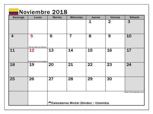 Calendario noviembre 2018, con los días festivos en Colombia. Calendario gratuito para imprimir.