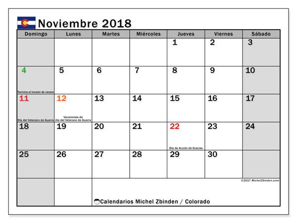 Calendario noviembre 2018, con los días feriados enColorado. Almanaque para imprimir gratis.