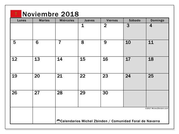 Calendario noviembre 2018, con los días festivos para la Comunidad Foral de Navarra. Planificación para imprimir gratis.