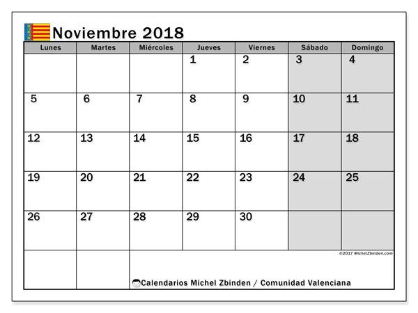 Calendario noviembre 2018, con los días festivos de la Comunidad Valenciana. Calendario imprimible gratis.