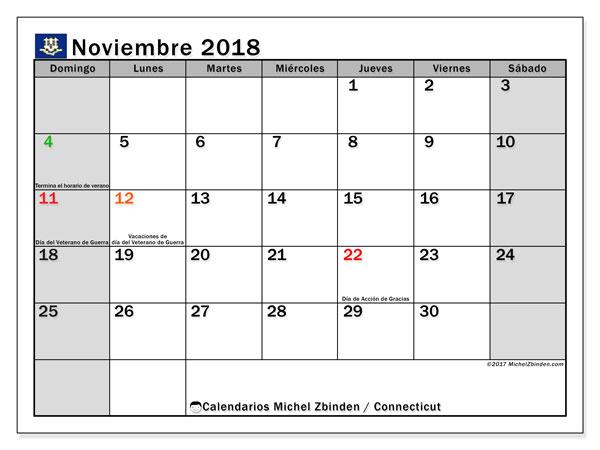 Calendario noviembre 2018, con los días feriados en Connecticut. Calendario imprimible gratis.