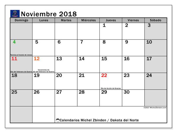 Calendario noviembre 2018, con los días feriados en Dakota del Norte. Almanaque para imprimir gratis.