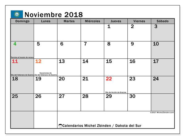 Calendario noviembre 2018, con los días feriados de Dakota del Sur. Almanaque para imprimir gratis.