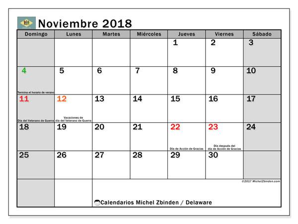 Calendario noviembre 2018, con los días feriados de Delaware. Almanaque para imprimir gratis.