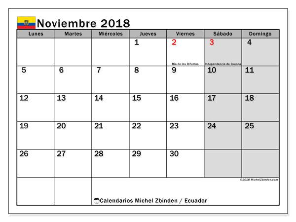 Calendario noviembre 2018, con los días feriados para Ecuador. Calendario gratuito para imprimir.
