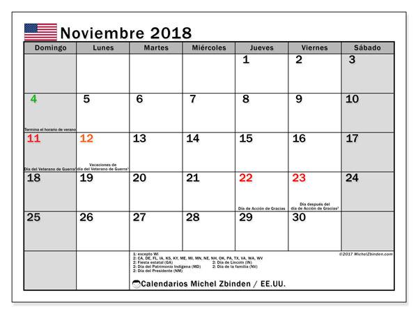 Calendario noviembre 2018, con los días feriados en EE.UU.. Calendario gratuito para imprimir.