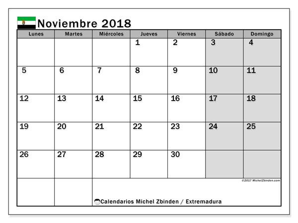 Calendario noviembre 2018, con los días festivos de Extremadura. Calendario para el mes para imprimir gratis.