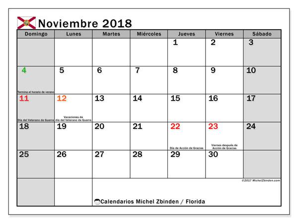 Calendario noviembre 2018, con los días feriados en Florida. Planificación para imprimir gratis.