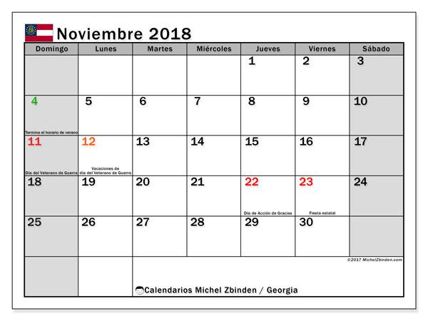 Calendario noviembre 2018, con los días feriados de Georgia. Calendario para imprimir gratis.