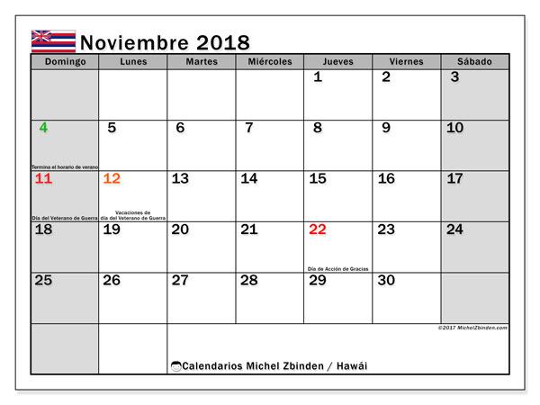 Calendario noviembre 2018, con los días feriados en Hawái. Calendario para imprimir gratis.