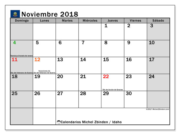 Calendario noviembre 2018, con los días feriados de Idaho. Calendario para imprimir gratis.