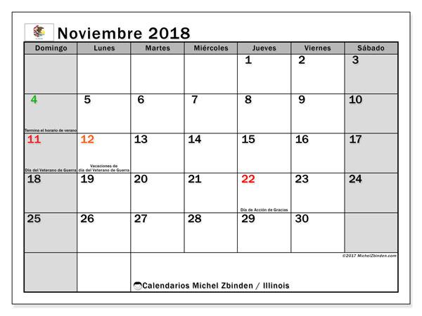 Calendario noviembre 2018, con los días feriados en Illinois. Calendario para imprimir gratis.