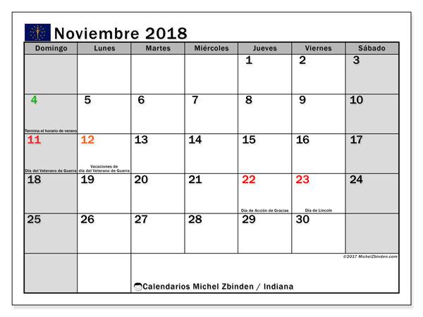 Calendario noviembre 2018, con los días feriados de Indiana. Calendario gratuito para imprimir.