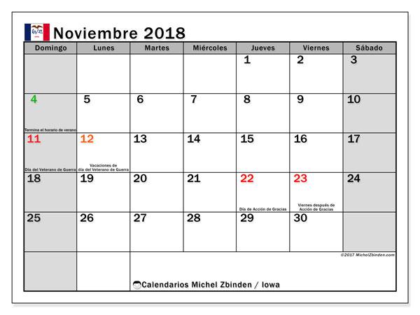 Calendario noviembre 2018, con los días feriados en Iowa. Almanaque para imprimir gratis.