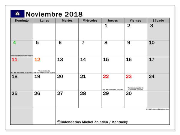 Calendario noviembre 2018, con los días feriados en Kentucky. Calendario gratuito para imprimir.