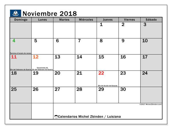Calendario noviembre 2018, con los días feriados en Luisiana. Calendario para imprimir gratis.