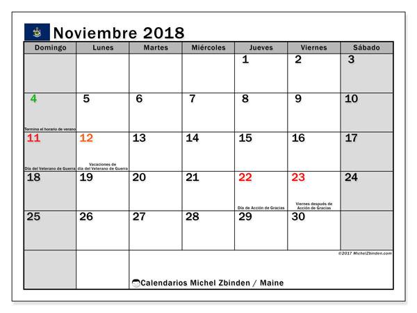 Calendario noviembre 2018, con los días feriados en Maine. Calendario para imprimir gratis.