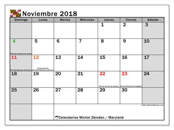Calendario noviembre 2018, con los días feriados en Maryland. Almanaque para imprimir gratis.