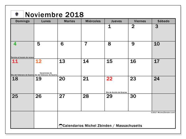 Calendario noviembre 2018, con los días feriados en Massachusetts. Calendario para imprimir gratis.