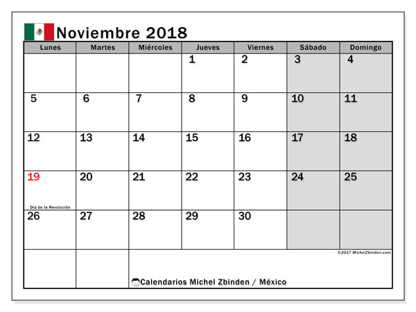 Calendario noviembre 2018, con los días feriados en México. Planificación para imprimir gratis.