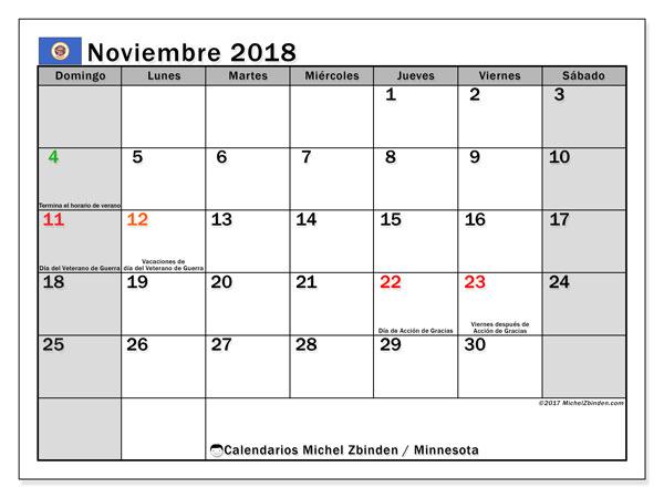 Calendario noviembre 2018, con los días feriados de Minnesota. Calendario mensual para imprimir gratis.