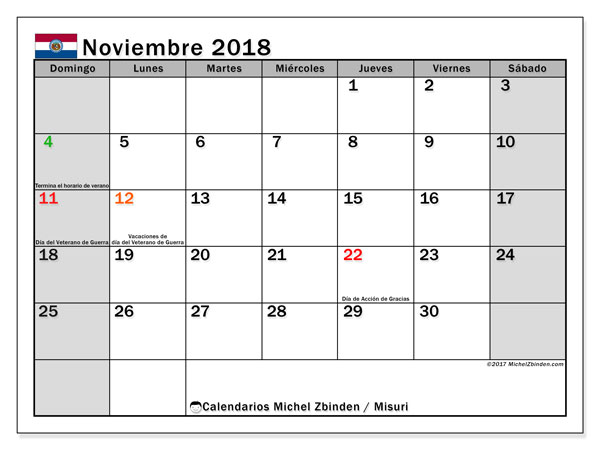 Calendario noviembre 2018, con los días feriados de Misuri. Calendario mensual para imprimir gratis.