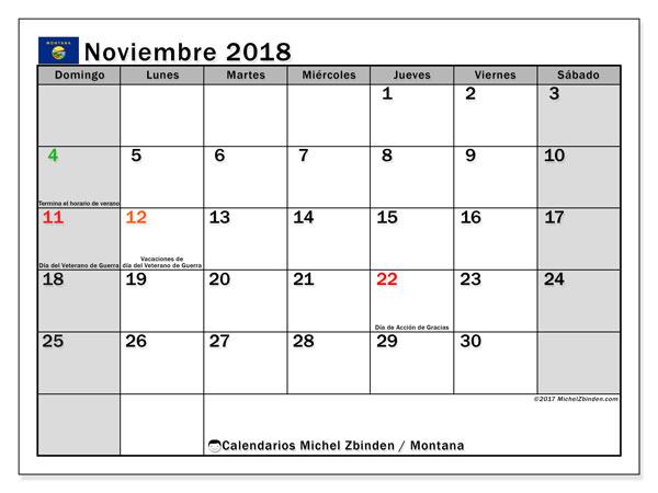 Calendario noviembre 2018, con los días feriados en Montana. Almanaque para imprimir gratis.