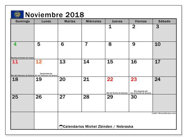 Calendario noviembre 2018, con los días feriados en Nebraska. Almanaque para imprimir gratis.