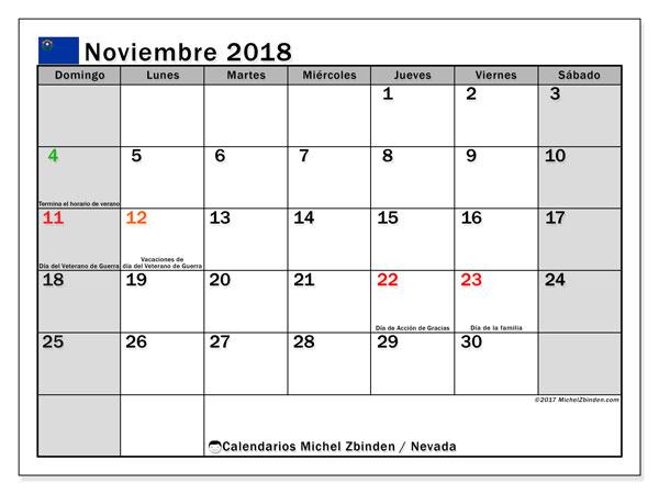 Calendario noviembre 2018, con los días feriados en Nevada. Calendario imprimible gratis.
