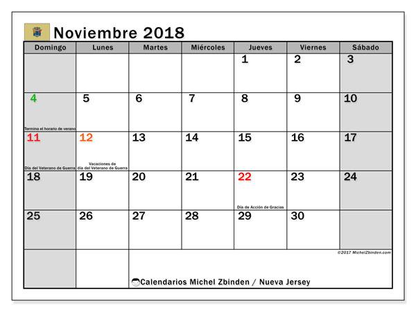 Calendario noviembre 2018, con los días feriados de Nueva Jersey. Calendario imprimible gratis.