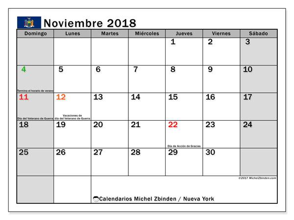 Calendario noviembre 2018, con los días feriados de Nueva York. Calendario para imprimir gratis.