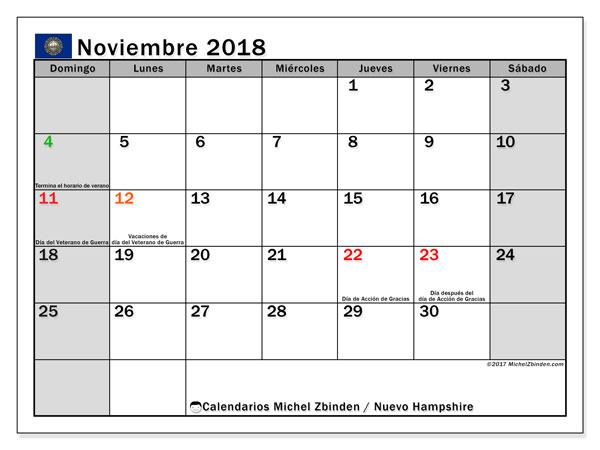 Calendario noviembre 2018, con los días feriados de Nuevo Hampshire. Calendario para imprimir gratis.