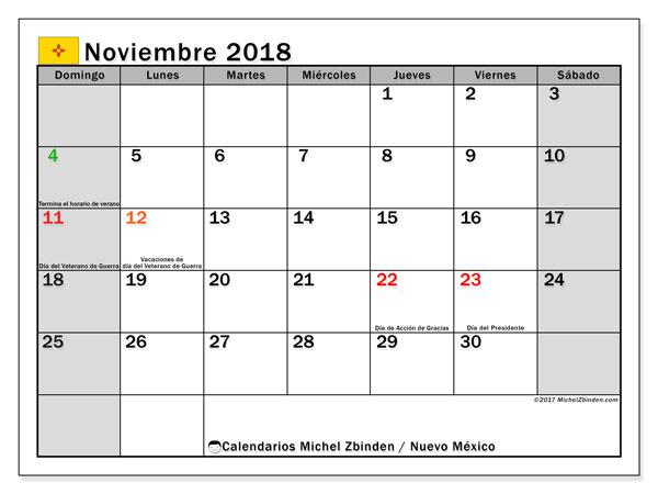 Calendario noviembre 2018, con los días feriados en Nuevo México. Calendario mensual para imprimir gratis.