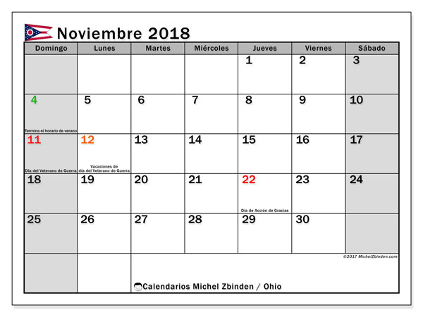 Calendario noviembre 2018, con los días feriados en Ohio. Almanaque para imprimir gratis.