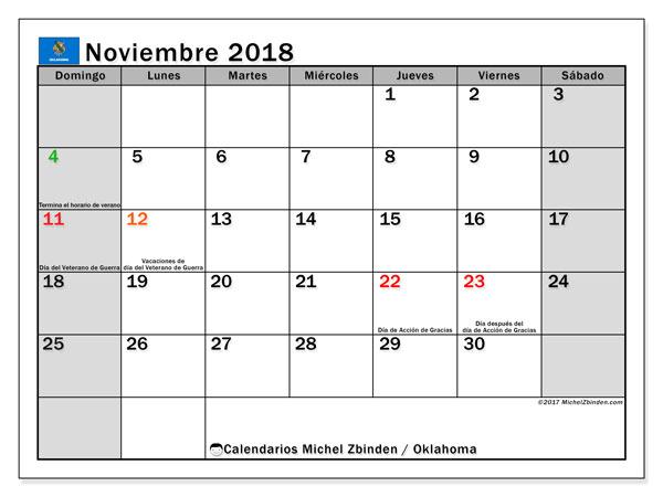Calendario noviembre 2018, con los días feriados de Oklahoma. Planificación para imprimir gratis.