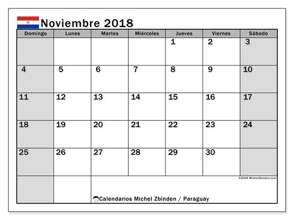 Calendario noviembre 2018, con los días feriados en Paraguay. Planificación para imprimir gratis.
