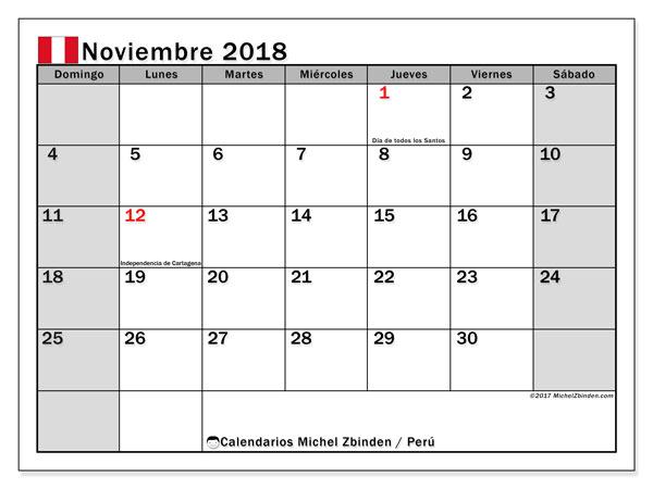 Calendario noviembre 2018, con los días feriados para Perú. Calendario imprimible gratis.