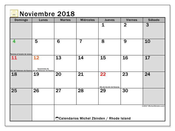 Calendario noviembre 2018, con los días feriados en Rhode Island. Almanaque para imprimir gratis.